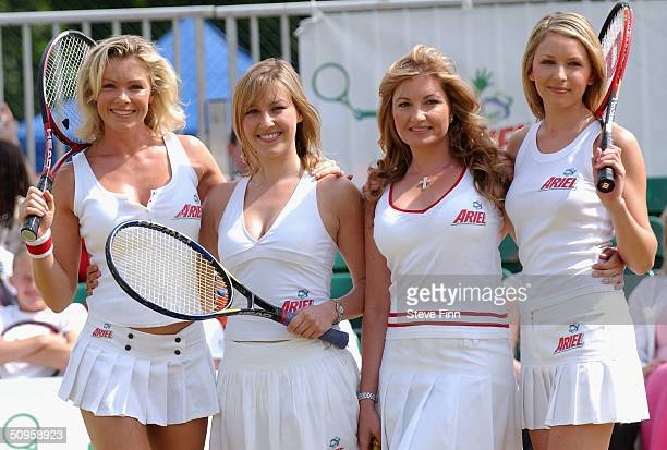 Nell McAndrew Lucy Dalglish Karren Brady and Diana Stewart take part in the celebrity finals day for Ariel Tennis Ace at Wimbledon Park Tennis Courts...