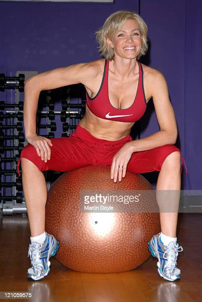 Nell McAndrew poses during a photocall to promote the new fitness DVD 'Cardio Core Stretch' at Tottenham Court Road's Fitness First on October 12...