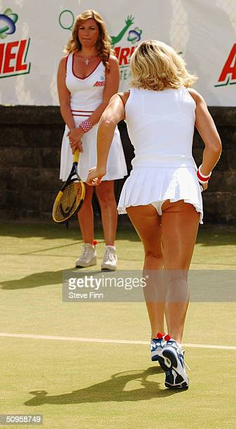 Nell McAndrew returns base line as she takes part in the celebrity finals day for Ariel Tennis Ace at Wimbledon Park Tennis Courts on June 14 2004 in...