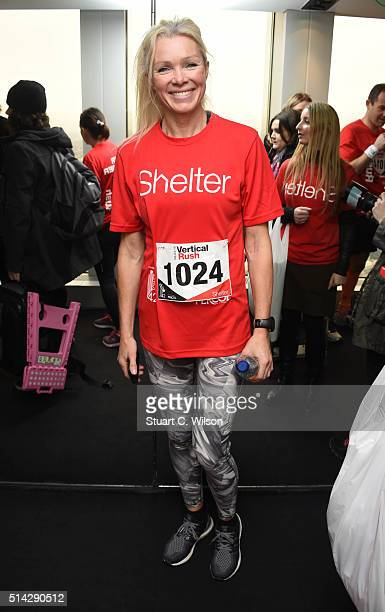 Nell McAndrew takes part in the Shelter Vertical Rush at Tower 42 on March 8 2016 in London England