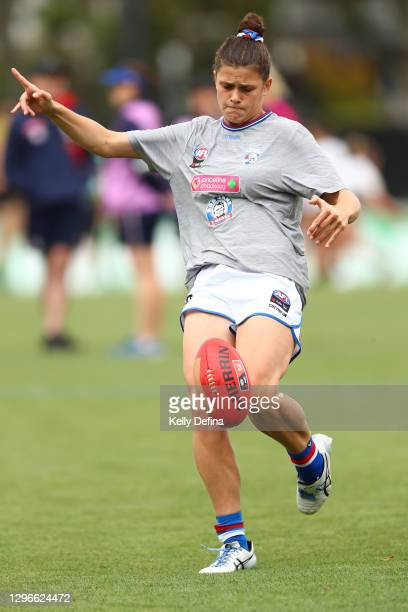 Nell Morris-Dalton of the Bulldogs warms up prior to the AFLW pre-season match between the Richmond Tigers and the Western Bulldogs at Punt Road Oval...