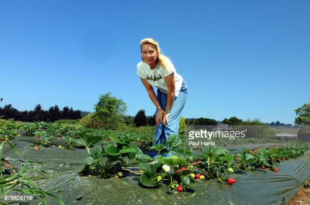 Nell Newman is the daughter of American actor Paul Newman and actress Joanne Woodward she stands in an organic strawberry field at University of...