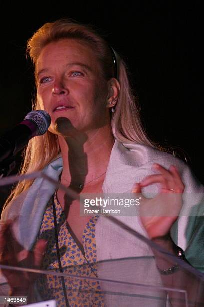Nell Newman speaks at the 'One World One Child' concert held at a private home in Beverly Hills to beneifit the Children's Health Environmental...