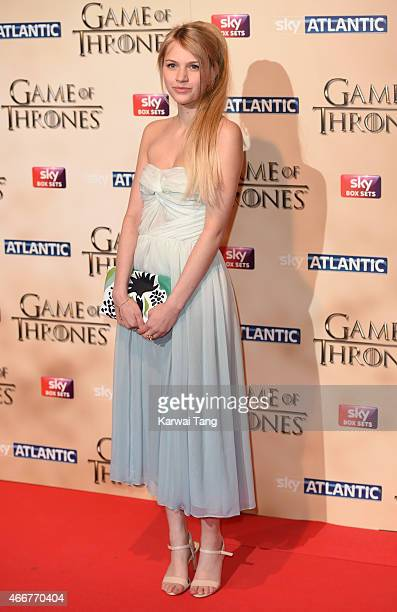Nell Tiger Free arrives for the world premiere of Game of Thrones Season 5 at Tower of London on March 18, 2015 in London, England.