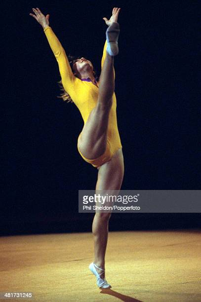 Nellie Kim of the Soviet Union during the Lilia White Gymnastics Championship held at the Wembley Arena in London circa November 1977