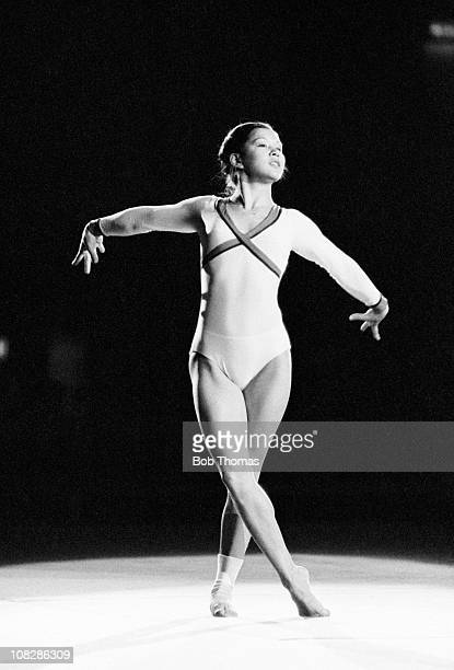 Nellie Kim of the USSR during a Gymnastics display at the Wembley Arena in London circa November 1980