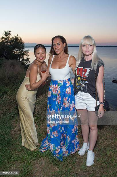 Nellie Kim Yayma Cardoso and Fiona Byrne attend Caudalie x Jason Wu Launch Event With The Coveteur on August 18 2016 in Hampton Bays New York