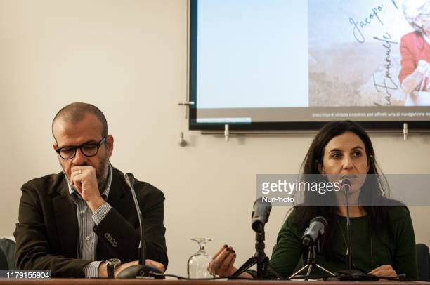 Nello Scavo Francesca Mannocchi attend on October 30 2019 in Rome Italy the press conference against the renewal of the Memorandum with Libya on...