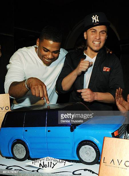 Nelly and Avery Storm attend Nelly's surprise birthday party at Lavo Restaurant and Nightclub on November 2 2008 in Las Vegas Nevada