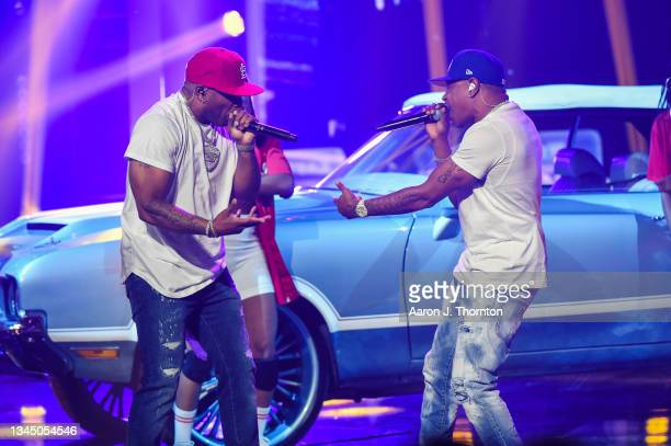 Nelly and City Spud perform onstage during the 2021 BET Hip Hop Awards at Cobb Energy Performing Arts Centre on October 01, 2021 in Atlanta, Georgia.