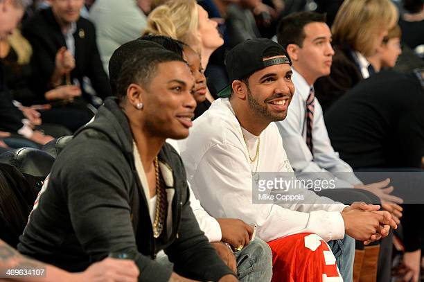 Nelly and Drake attend the State Farm AllStar Saturday Night during the NBA AllStar Weekend 2014 at The Smoothie King Center on February 15 2014 in...