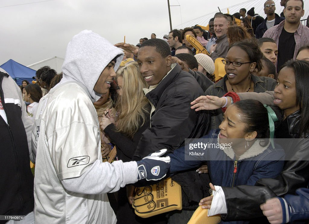 Nelly and fans during MTV's Rock N Jock Super Bowl XXXVIII at MTV Compound Near Reliant Stadium in Houston, Texas, United States.