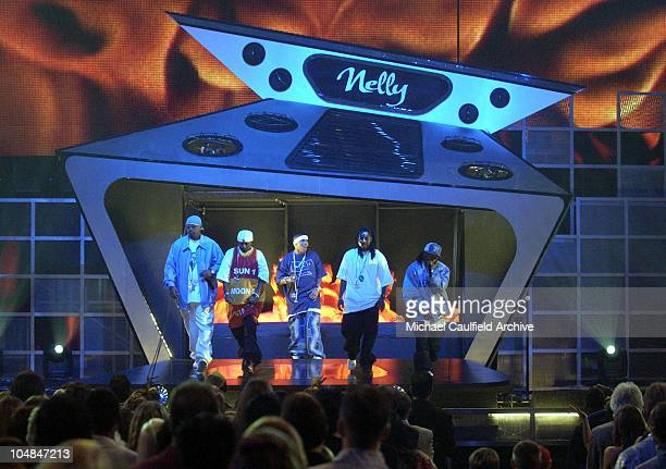 """Nelly and his cohorts in the St. Lunatics performing """"Hot in Herre."""""""