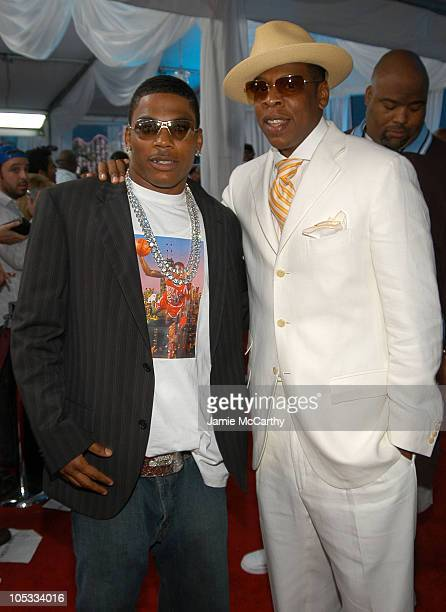 Nelly and Jay-Z during 2004 MTV Video Music Awards - Red Carpet at American Airlines Arena in Miami, Florida, United States.