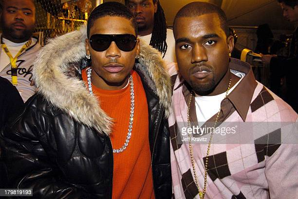Nelly and Kanye West during 2004 MTV European Music Awards Red Carpet at Torr di Valle in Rome Italy
