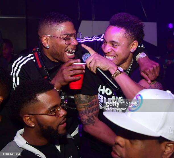 Nelly and Rotimi attend Nelly Friends Concert after Party at Gold Room on July 25 2019 in Atlanta Georgia
