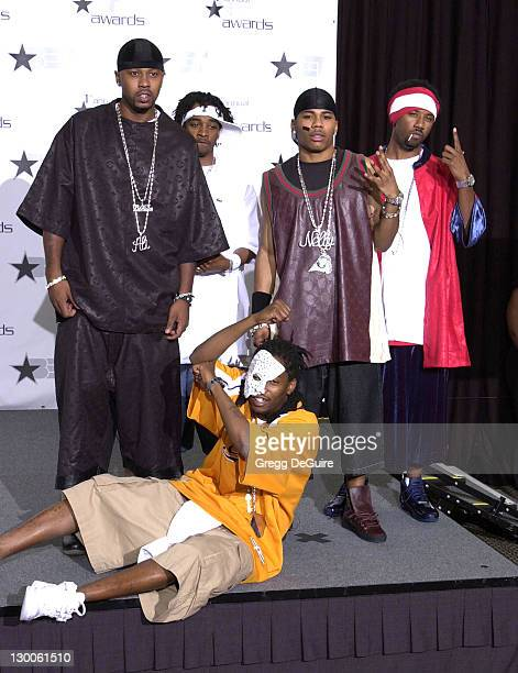 Nelly and the St Lunatics pose during the 1st Annual BET Awards June 19 2001 at the Paris Hotel and