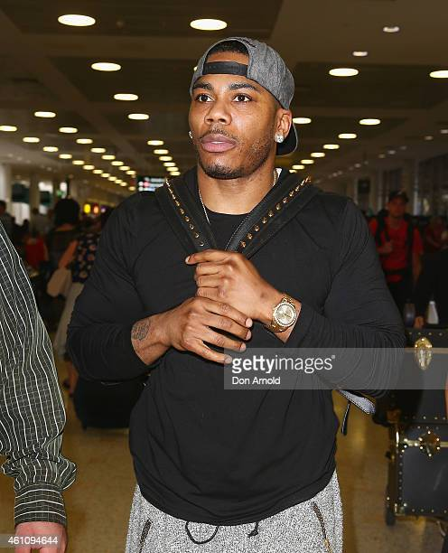 Nelly arrives for his Australian Tour at Kingsford Smith Airport on January 7 2015 in Sydney Australia
