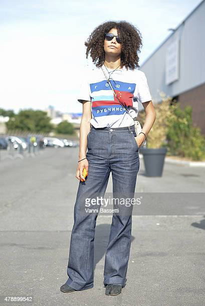 f63000190 Nelly Chevaillier poses wearing Gosha Rubchinskiy shirt APC pants and Maison  Martin Margiela shoes before the