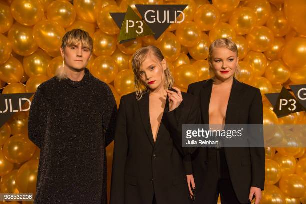 Nelly Daltrey and Tuva Lodmark of Pale Honey and a friend arrive at the P3 Guld Gala Swedish Radio's celebration of the best in Swedish Music on...