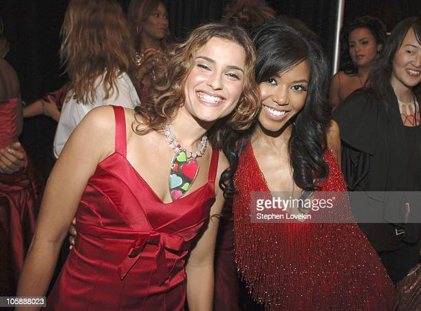 Nelly Furtado and Amerie during Olympus Fashion Week Fall 2006 Heart Truth Red Dress Backstage at Bryant Park in New York City New York United States