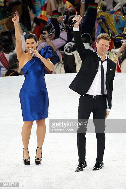 Nelly Furtado and Bryan Adams perform during the Opening Ceremony of the 2010 Vancouver Winter Olympics at BC Place on February 12 2010 in Vancouver...