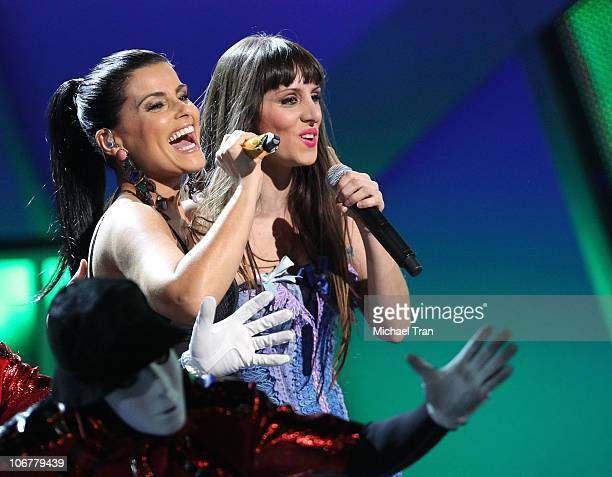 Nelly Furtado and Mala Rodriguez perform onstage at the 11th Annual Latin Grammy Awards at Mandalay Bay Events Center on November 11 2010 in Las...