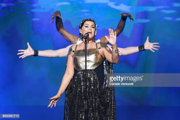 Nelly Furtado performs on stage at the auction for the inaugural 'MonteCarlo Gala for the Global Ccean' honoring Leonardo DiCaprio at the Monaco...
