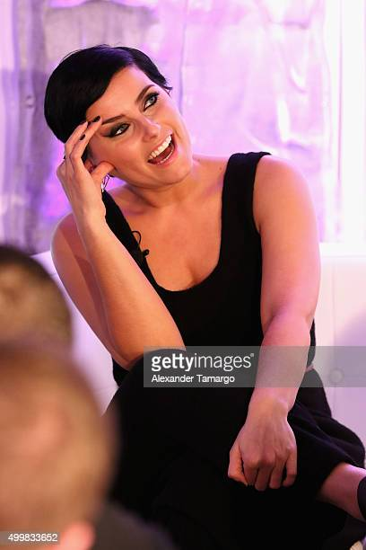 Nelly Furtado speaks at FIU And The Creative Class Group Art Basel The Creative City at Miami Beach Urban Studios on December 3 2015 in Miami Beach...
