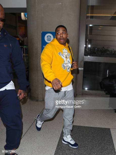Nelly is seen at Los Angeles International Airport on February 14 2018 in Los Angeles California