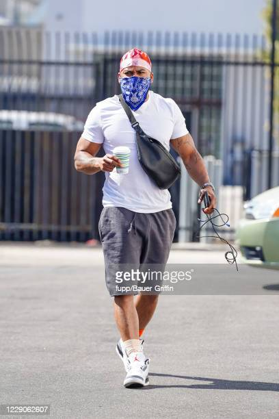 Nelly is seen outside 'Dancing With The Stars' rehearsal studios on October 13, 2020 in Los Angeles, California.