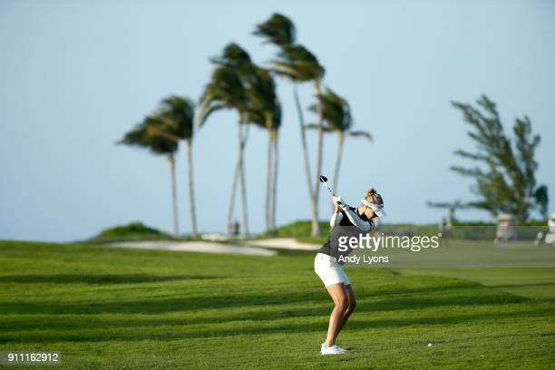 Nelly Korda hits her second shot on the 15th hole during the second round of the Pure Silk Bahamas LPGA Classic at the Ocean Club Golf Course on...
