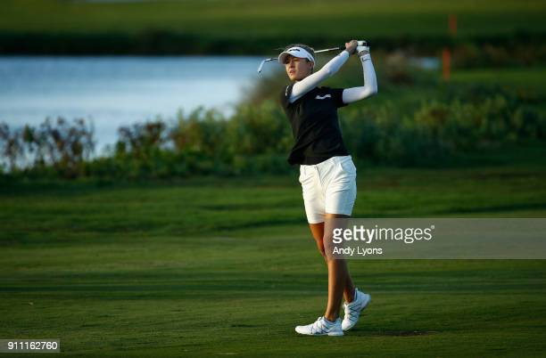 Nelly Korda hits her second shot on the 16th hole during the second round of the Pure Silk Bahamas LPGA Classic at the Ocean Club Golf Course on...