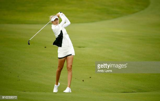 Nelly Korda hits her second shot on the 7th hole during the first round of the Pure Silk Bahamas LPGA Classic at the Ocean Club Golf Course on...