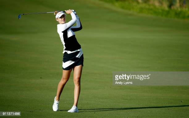 Nelly Korda hits her second shot on the 7th hole during the second round of the Pure Silk Bahamas LPGA Classic at the Ocean Club Golf Course on...