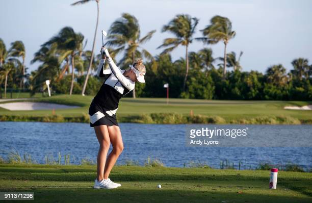 Nelly Korda hits her tee shot on the 3rd hole during the second round of the Pure Silk Bahamas LPGA Classic at the Ocean Club Golf Course on January...