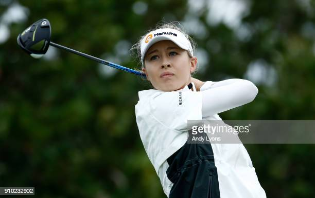 Nelly Korda hits her tee shot on the 4th hole during the first round of the Pure Silk Bahamas LPGA Classic at the Ocean Club Golf Course on January...