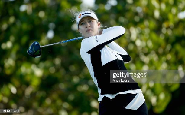 Nelly Korda hits her tee shot on the 4th hole during the second round of the Pure Silk Bahamas LPGA Classic at the Ocean Club Golf Course on January...