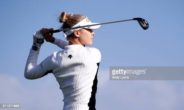 Nelly Korda hits her tee shot on the 8th hole during the second round of the Pure Silk Bahamas LPGA Classic at the Ocean Club Golf Course on January...