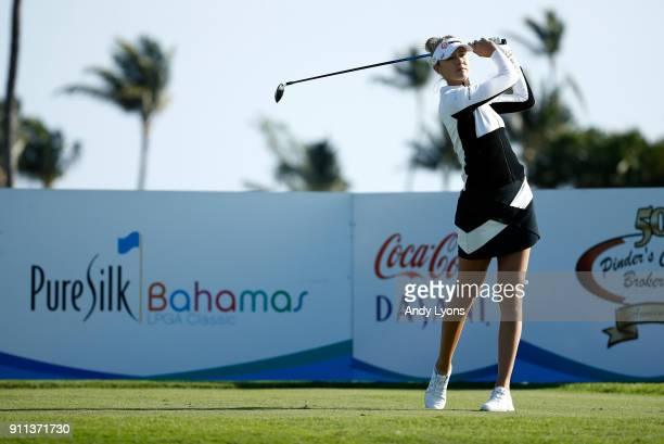 Nelly Korda hits her tee shot on the 9th hole during the second round of the Pure Silk Bahamas LPGA Classic at the Ocean Club Golf Course on January...