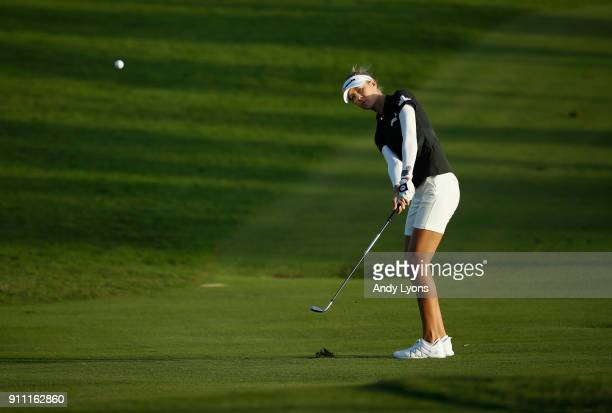 Nelly Korda hits her third shot on the 15th hole during the second round of the Pure Silk Bahamas LPGA Classic at the Ocean Club Golf Course on...