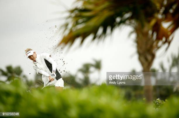 Nelly Korda hits her third shot on the 7th hole during the first round of the Pure Silk Bahamas LPGA Classic at the Ocean Club Golf Course on January...