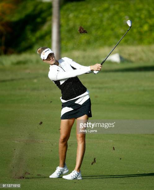 Nelly Korda hits her third shot on the 7th hole during the second round of the Pure Silk Bahamas LPGA Classic at the Ocean Club Golf Course on...