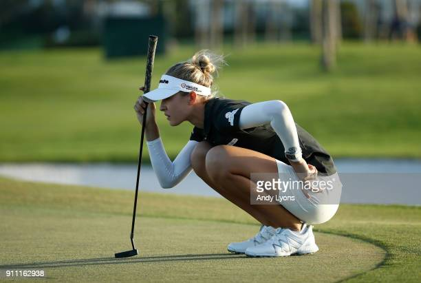 Nelly Korda lines up her birdie putt on the 15th hole during the second round of the Pure Silk Bahamas LPGA Classic at the Ocean Club Golf Course on...