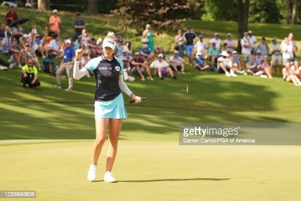 Nelly Korda makes her birdie putt on the 13th hole during the final round for the 2021 KPMG Women's Championship at the Atlanta Athletic Club on June...