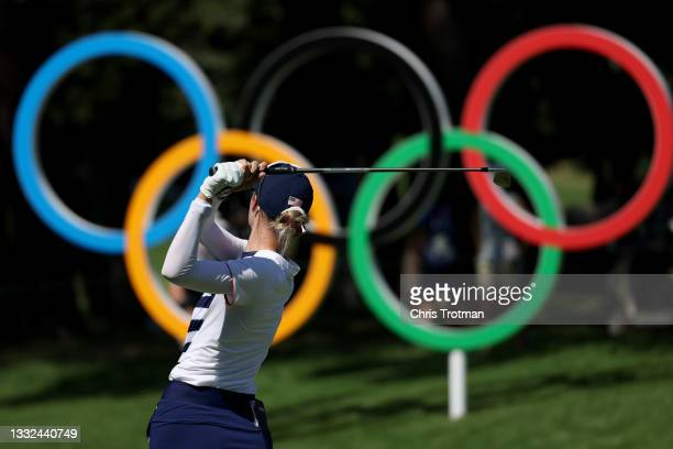 Nelly Korda of Team United States plays her shot from the 16th tee during the second round of the Women's Individual Stroke Play on day thirteen of...