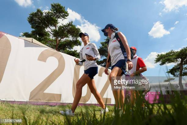 Nelly Korda of Team United States walks off the 18th green during the third round of the Women's Individual Stroke Play on day fourteen of the Tokyo...