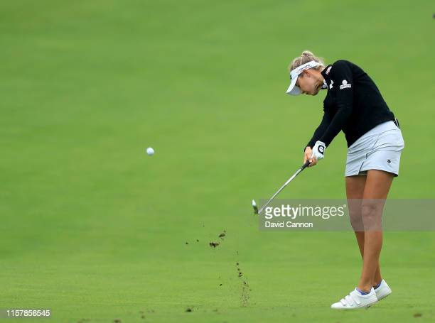 Nelly Korda of the Unhited States plays her second shot on the par 4 14th hole during the final round of the 2019 KPMG Women's PGA Championship at...