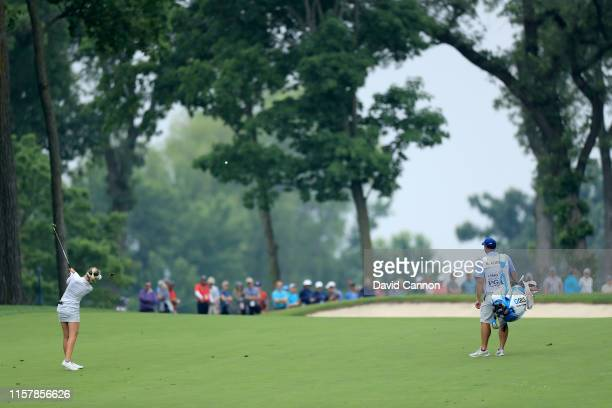 Nelly Korda of the Unhited States plays her second shot on the par 4 12th hole during the final round of the 2019 KPMG Women's PGA Championship at...