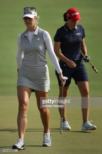 Nelly Korda of the United States and Carlota Ciganda of Spain during the first round of the ANA Inspiration on the Dinah Shore course at Mission...